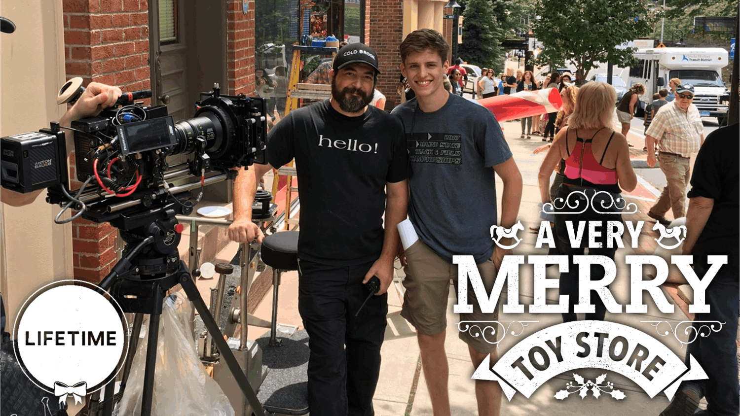 "Filmmaker Jacob J. Christiansen on set of Lifetime's ""A Very Merry Toy Store"""